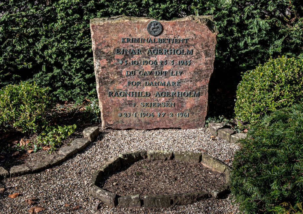 Kriminalbetjent Ejnar Agerholms gravsten